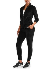 Women's Velour Bomber Jacket and Jogger Pant Track