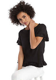 The Limited Short Sleeve Ruffle Hem Top