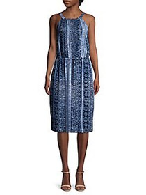 Joan Vass Printed Halterneck Dress BLUE WHITE