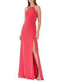 ML Monique Lhuillier Side Cut-Out Halterneck Gown