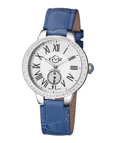 Gv2 Swiss Quartz Astor Blue Diamond Leather Strap