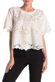 Love Sam Monceau Embroidered Short Sleeve Blouse