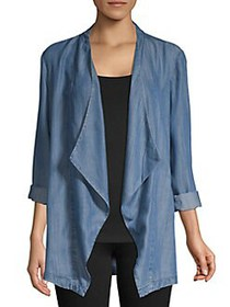Joan Vass Chambray Open-Front Jacket BLUE WASH