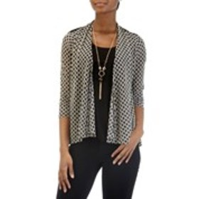 LIZ MCCOY Textured 2Fer Top with Necklace