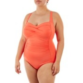 Twist Front Ruched One-Piece Swimsuit