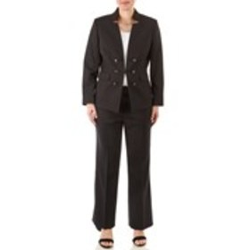 Petite One Clasp Textured Twill Suit