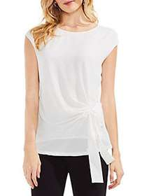 Vince Camuto Mix Media Cap-Sleeve Blouse NEW IVORY