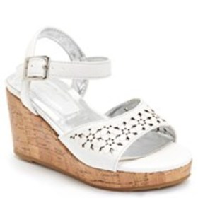 Girls Perforated Flower Wedge Sandals