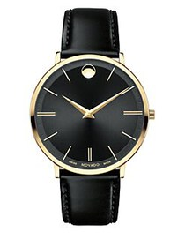 Movado Ultra Slim Goldtone Stainless Steel & Leath