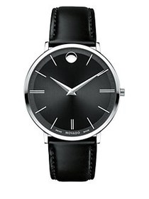 Movado Ultra Slim Stainless Steel Leather Strap Wa