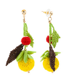 KENNETH JAY LANE Beaded Fruit Earrings With 20k Go