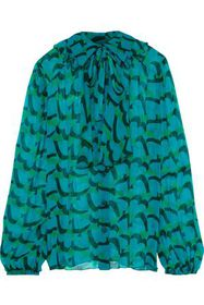 ANNA SUI Ruffled printed silk-georgette blouse