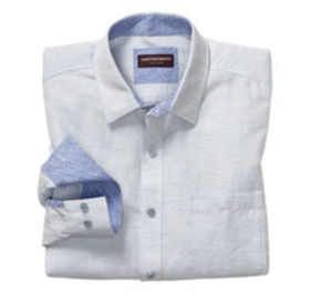 Johnston Murphy Diamond Slub Washed Linen Shirt