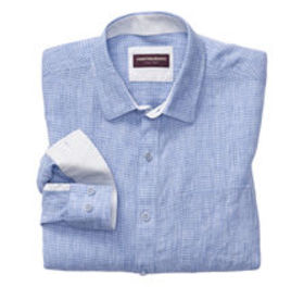 Johnston Murphy Mini Grid Slub Washed Linen Shirt