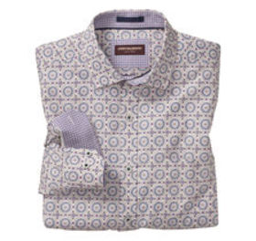Johnston Murphy Mosaic Stamp Print Shirt