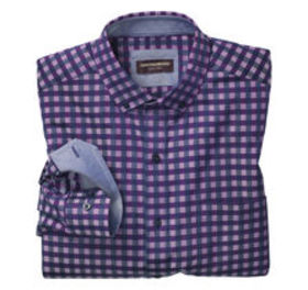 Johnston Murphy Button-Collar Gingham Shirt