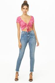 Forever21 Abstract Print Tie-Front Crop Top