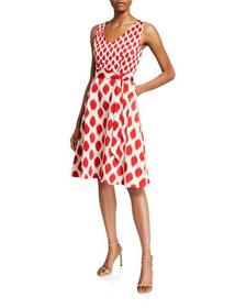 Donna Karan Abstract Faille Fit-&-Flare Dress