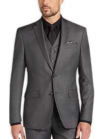 DKNY Gray Heathered Extreme Slim Fit Vested Suit