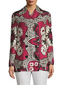 Valentino Double-Breasted Floral Jacket RED MULTI