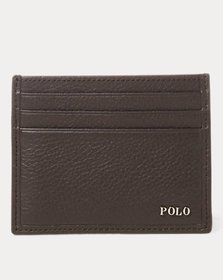 Ralph Lauren Metal-Plaque Leather Card Case