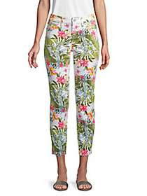 Tommy Bahama Botanical-Print Skinny Ankle Jeans WH