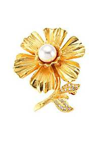 Kenneth Jay Lane Goldplated Faux-Pearl & Crystal F