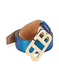 Bally Mirror B Leather Belt ULTRAMARINE