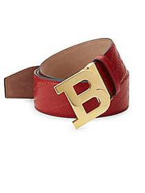 Bally Embossed Logo Leather Buckle Belt COURVETTE