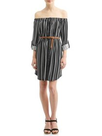 Juniors' Printed Off the Shoulder Belted Tunic Dre