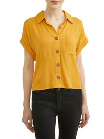 Juniors' Button Front Rolled Tab Short Sleeve Blou