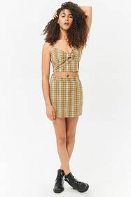 Forever21 Plaid Keyhole Crop Cami