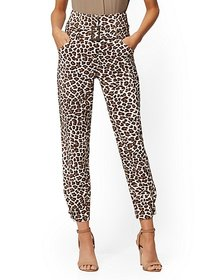 Leopard-Print Belted Ankle Pant - 7th Avenue - New