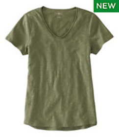 LL Bean Organic Cotton Tee, V-Neck Short-Sleeve