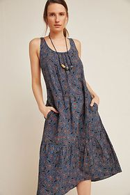 Anthropologie Frye Kalamkari Woodblock-Printed Dre