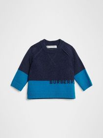Burberry Logo Intarsia Cashmere Sweater in Navy