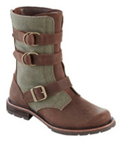 LL Bean Women's Old Port Boots, Mid Leather Canvas