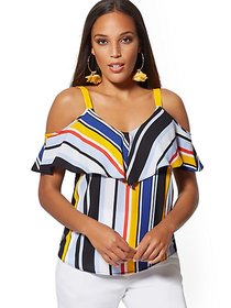 Stripe Ruffled Cold-Shoulder Blouse - New York & C