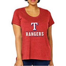 Soft As A Grape Women's Texas Rangers Tri-Blend Cr