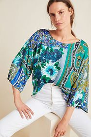 Anthropologie Ellery Mixed-Print Blouse