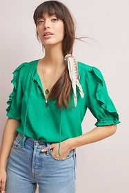 Anthropologie Hina Puff-Sleeved Blouse