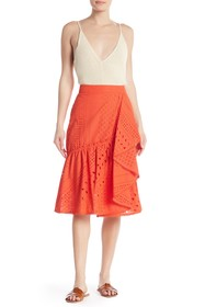 Trina Turk Vallejo Eyelet Knit Embroidered Skirt