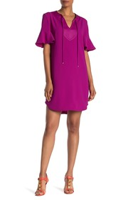 Trina Turk Donatella Short Sleeve Solid Dress
