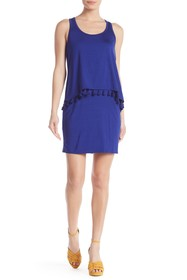 Trina Turk Richmond Scoop Neck Tassel Trim Dress