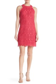 Trina Turk Deveny Crochet Knit Sleeveless Dress