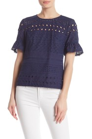 Trina Turk Darling Short Sleeve Crochet Knit Blous