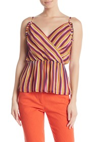 Trina Turk Tulum Striped Surplice Tank Top