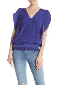 Trina Turk Cancun V-Neck Silk Blend Top
