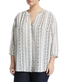 NYDJ Plus Plus Size 3/4 Sleeve Button-Front Blouse