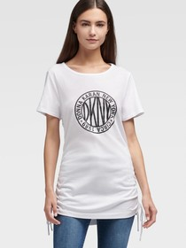 Donna Karan Token Logo Tee With Ruching